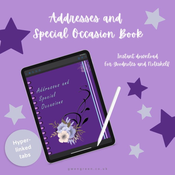 Lilac address book front cover